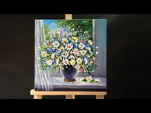 Palette knife flower painting