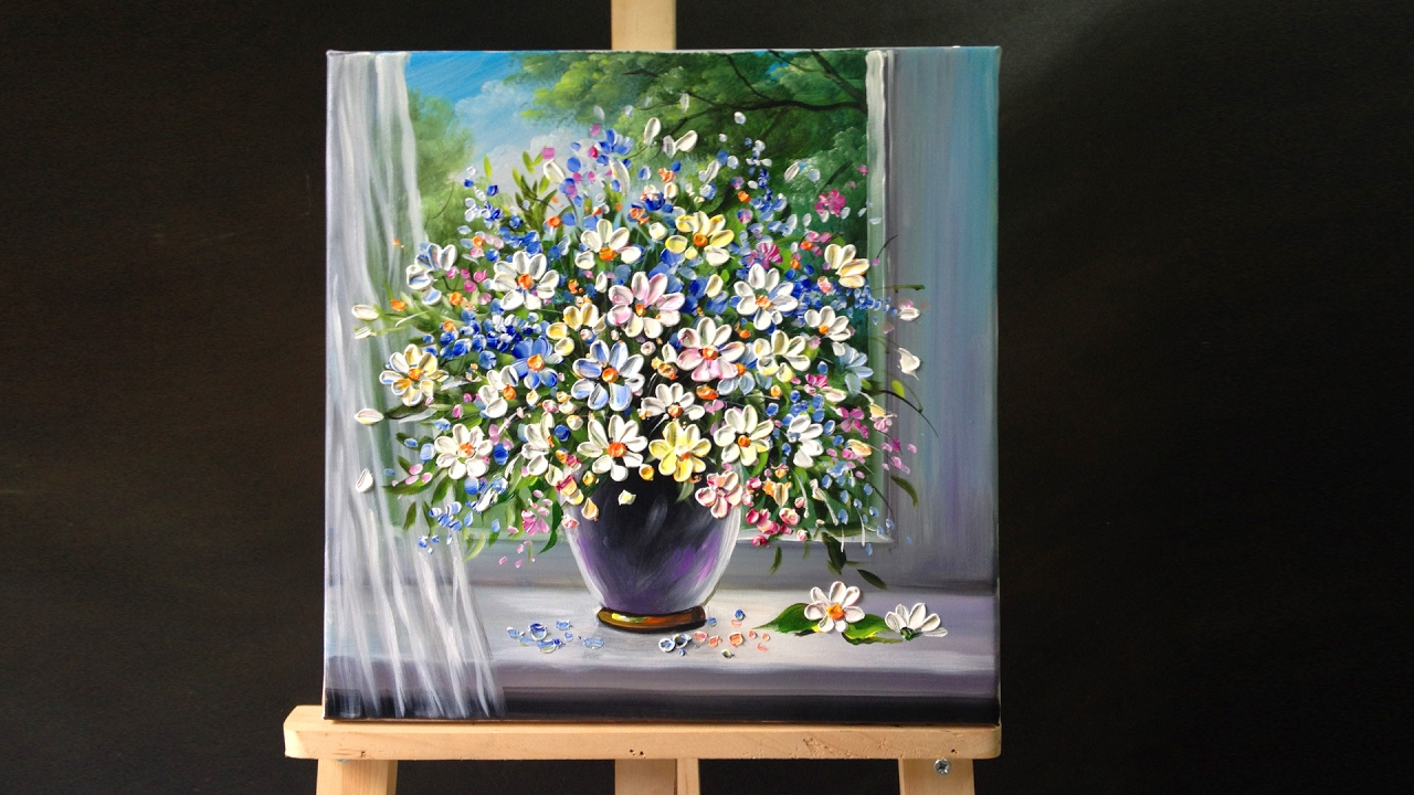Palette knife flower painting doovi for How to paint with a palette knife with acrylics