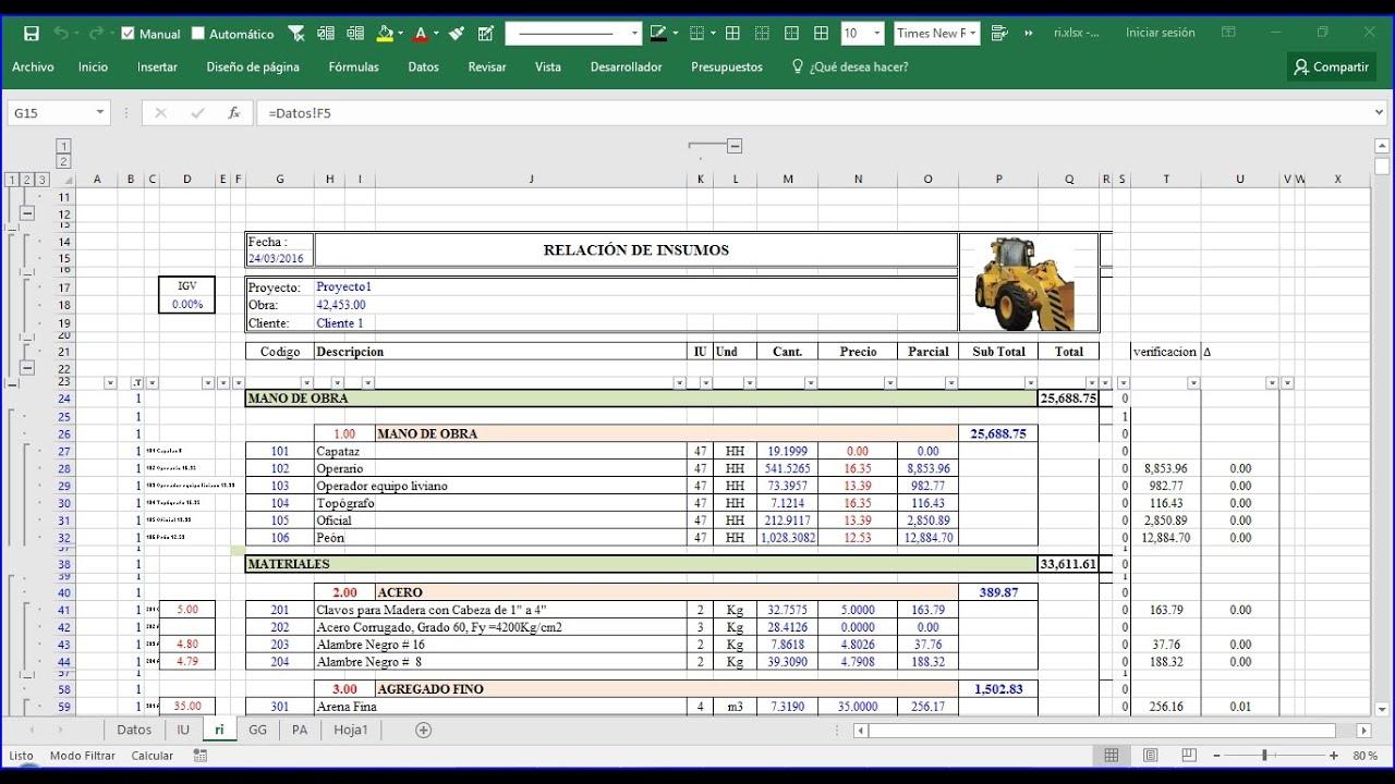 Modelo de presupuesto excel introduccion 3 precex 03 for Presupuesto para una pileta de material