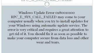 fix windows update error 0x80010100 rpc e sys call failed