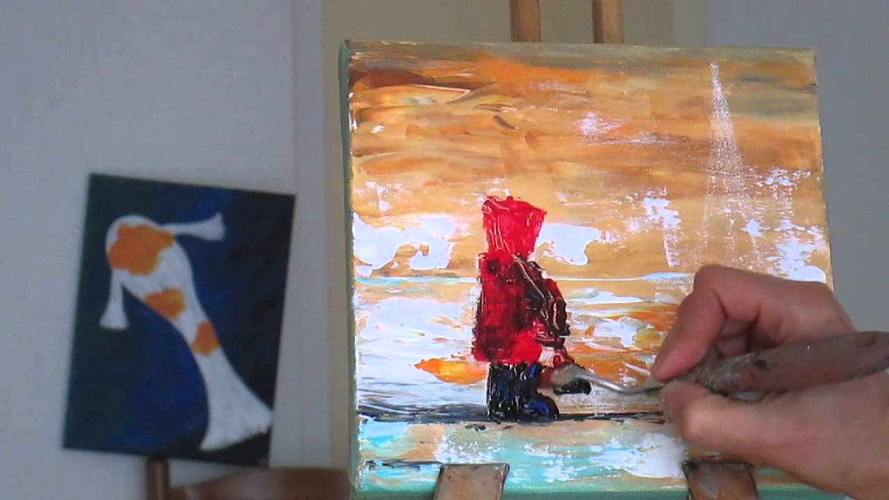 Tanja bell how to paint boat acrylic painting landscape for How to paint with a palette knife with acrylics
