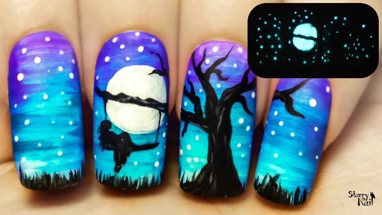A Tree Swing At Midnight Glow In The Dark Freehand Nail Art