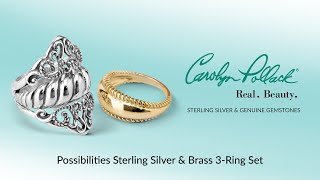 Carolyn Pollack Sterling Silver & Brass 3-Ring Set