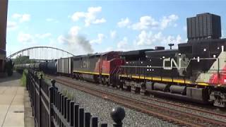 CSX K676 Rolls Past Station Square with Two Canadian Cabs