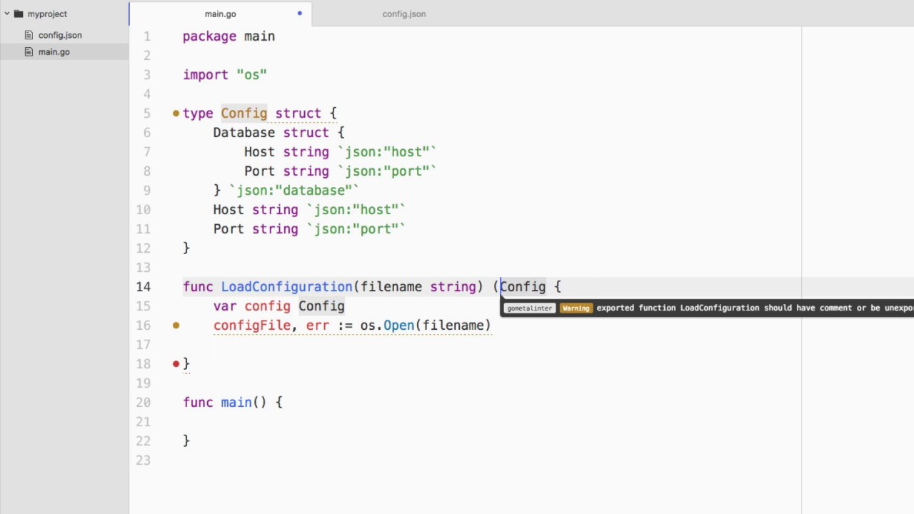 Load A JSON Configuration From File In A Golang Application