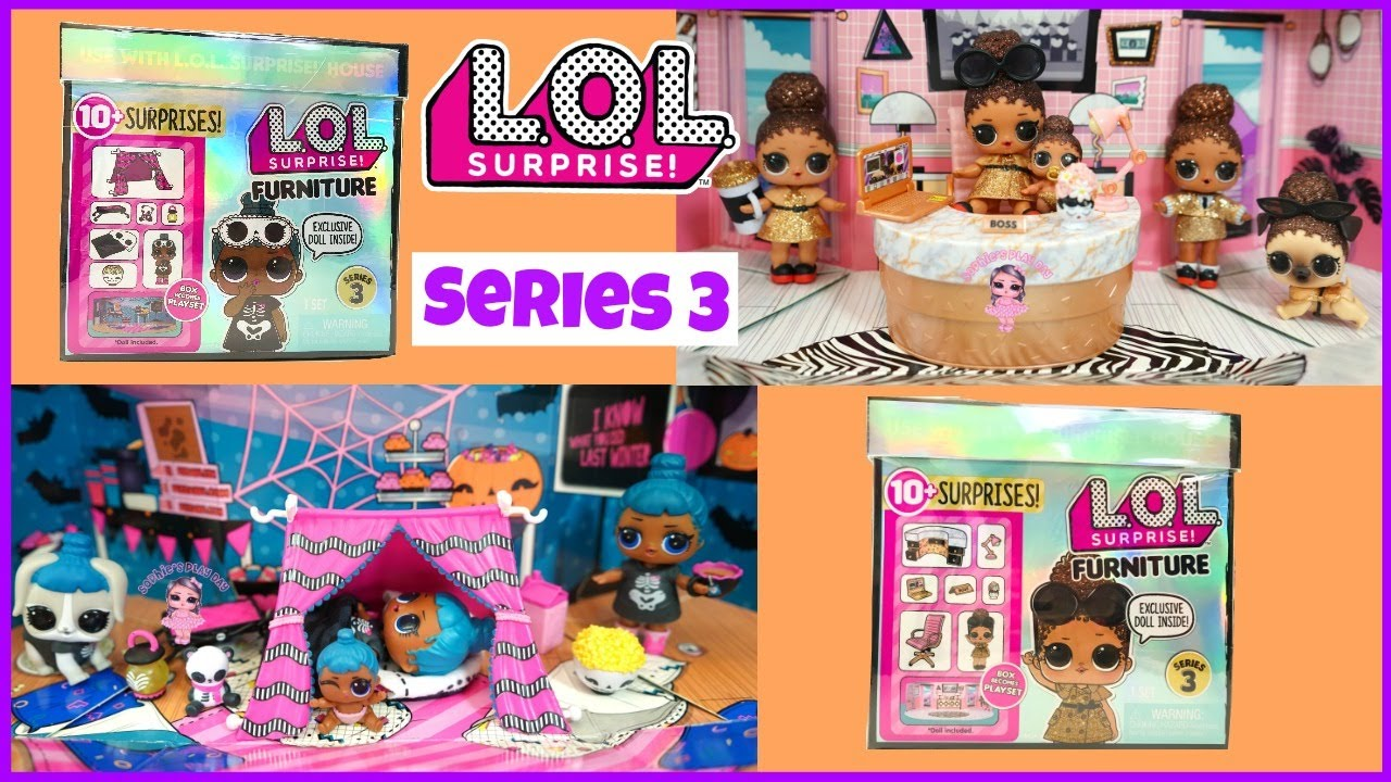 Lol Surprise Furniture Series 3 Unboxing Sleepover And School Office Set With Exclusive Dolls Youtube