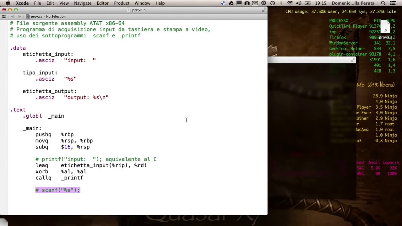 Assembly AT&T [video 2] input output standard con printf e scanf