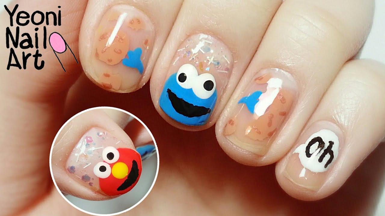 Elmo Cookie Monster Nail Art Youtube