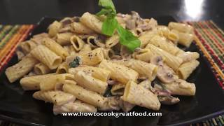Italian Food - Mushroom Cream Pasta Rigatoni Recipe Super Easy & Fast Parmesan