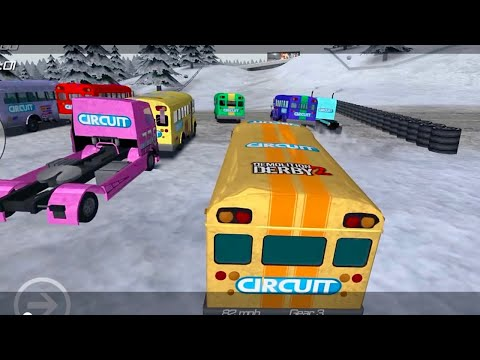 Demolition Derby 2 Game Play #3 || Derby Circuit Race Challenge Yellow Bus