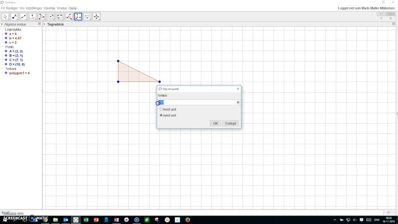 Geogebra - drej polygon om punkt efter bestemt vinkel