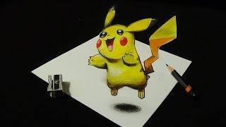 Drawing a 3D Pikachu, Trick Art, Pokemon Go