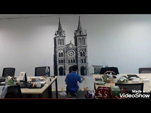 Clip chi tiết vẽ tranh Đen Trắng Nhà Thờ Đức Bà – Sài Gòn /Tranh Tường 3D tại cty Hr1 Việt Nam-Quận1