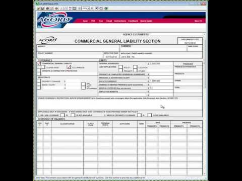 Acord 126 How To Complete Insurance Agency Quoting Forms - Youtube