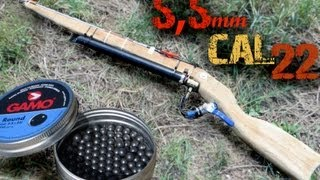Repeat youtube video ᴴᴰ Homemade  Air gun shooting to all kinds of things  [ 5.5 mm ,cal .22 ]
