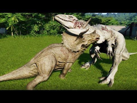 TRICERATOPS MAX Vs I-REX,T-REX,SPINOSAURUS,ALLOSAURUS,CARNOTAURUS - Jurassic World Evolution