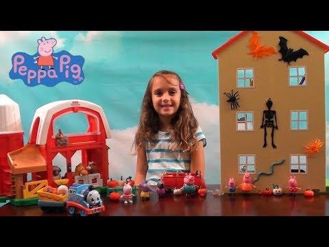 Peppa Pig: Peppa Pig Halloween Pumpkin Farm: Peppa Pig Happy Family House and Thomas the Train