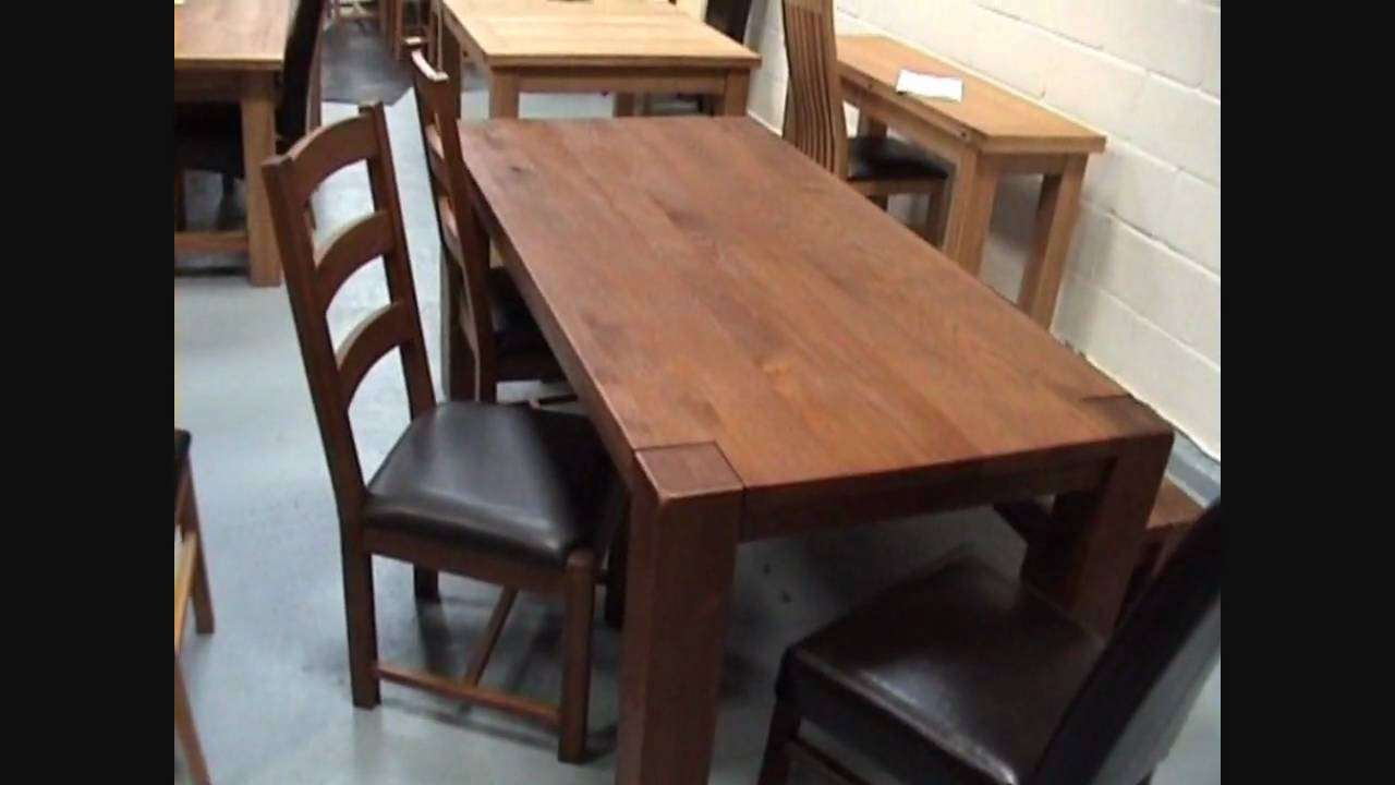 boston solid dark oak dining tables chairs benches and stools youtube - Dark Oak Dining Table