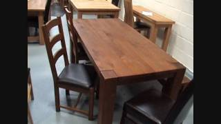 Boston Solid Dark Oak Dining Tables, Chairs, Benches And Stools