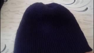 Вязание спицами. Шапка бини платочной вязкой