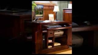 Mahogany Concealed Computer Desk Workstation, Free Uk Shipp