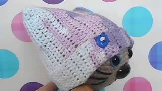 Котик в шарфе и шапочке связанный крючком.Готовая работа.