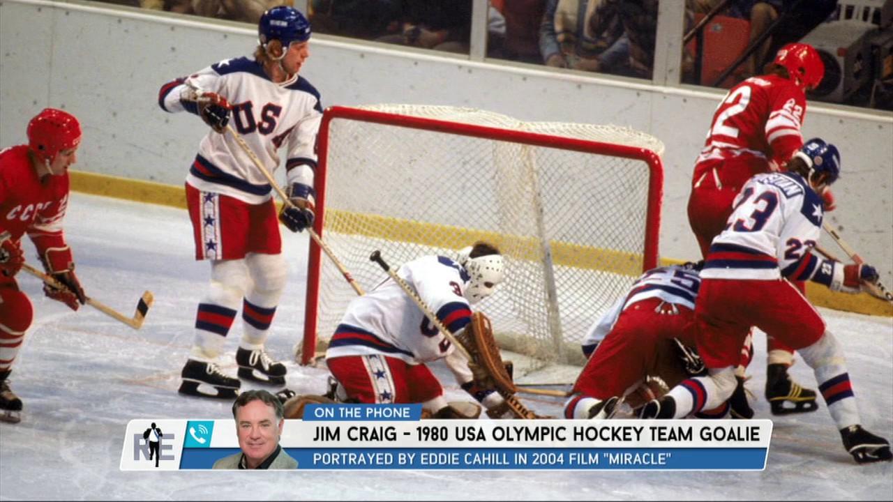 1980 Usa Olympic Hockey Team Goalie Jim Craig Al Michaels Reflect
