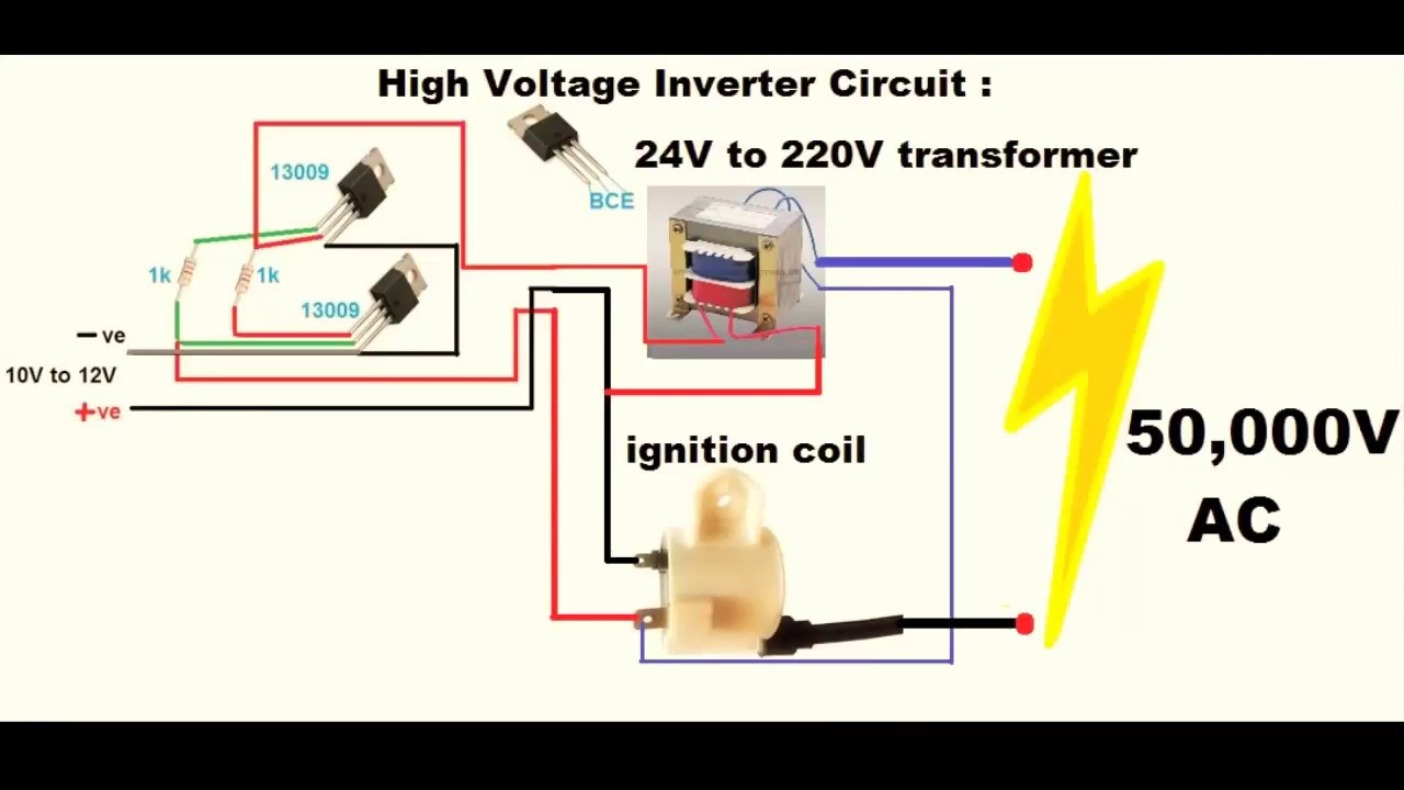 make an inverter high voltage 12v dc to 50000v ac youtube rh youtube com Air Compressor 220V Wiring-Diagram 220V Plug Wiring Diagram