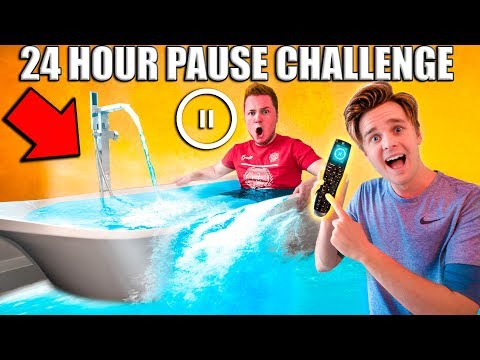 24 Hour PAUSE CHALLENGE! Papa Jake Vs Logan (Embarrassing)