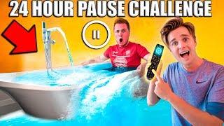24 Hour PAUSE CHALLENGE! Papa Jake Vs Logan (Embarrassing)
