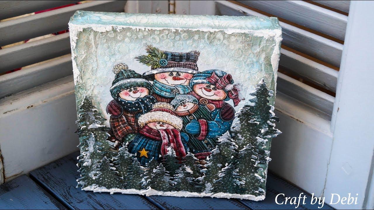 Decoupage Tutorial Christmas Canvas - Χριστουγεννιάτικος ...