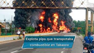 """""""Accidente de una pipa con combustible, en la ranchería La Raya, carretera Comalcalco-Paraíso, la pipa explotó, está controlado el incendio"""", escribió en su cuenta de Twitter el gobernador del estado"""