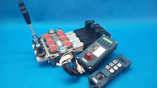 MONOBLOCK HYDRAULIC BANK MOTOR 3 SPOOL VALVES 120 l/min 31gpm 12 V + REMOTE RADIO HM-Line 600 video