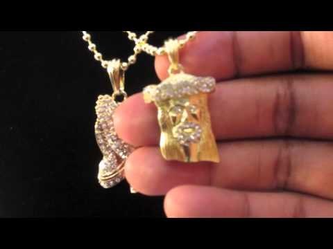 Gold micro mini jesus praying hand pendants w/ ball chain nas tyga | hip hop jewelry