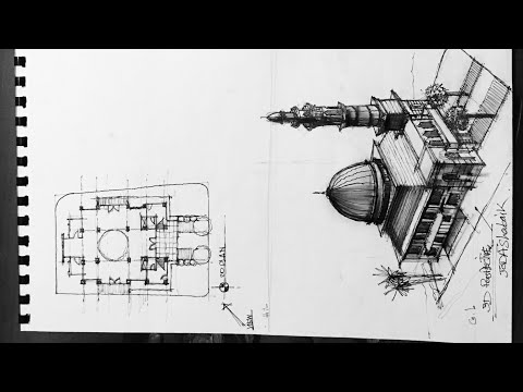 Drawing Architecture : easy \u0026 quick new mosque 2d \u0026 3D #sketching