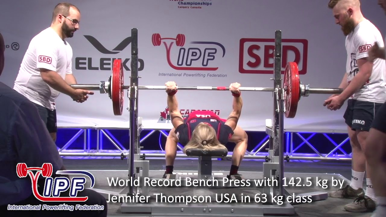 World Record Bench Press with 142 5 kg by Jennifer Thompson USA in 63 kg  class