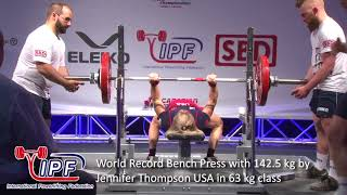World Record Bench Press with 142.5 kg by Jennifer Thompson USA in 63 kg class