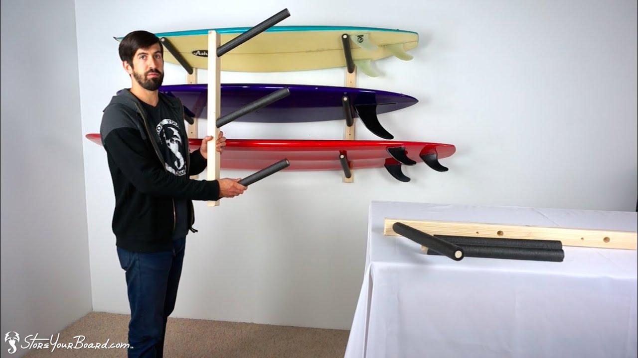 Paddle Board Rack >> Surfboard Wall Rack   Triple Wood Surf Rack   StoreYourBoard - YouTube