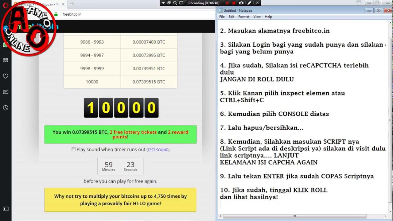 1000 Roll Script Freebitco in Terbaru Juli 2017 - 0 07 BTC