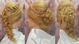 Вечерняя греческая прическа на бок прически волосы локоны и жгуты хвост hair hairstyles