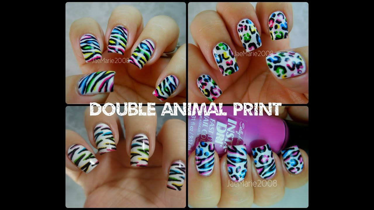 Double Animal Print Nail Designs 2 D Effect Youtube