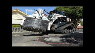 Modern Technology Machine Working - Heavy Equipment Road Construction, Excavator, wood chipper