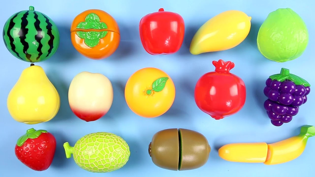 Learn Names Of Fruits And Vegetables With Velcro Cutting
