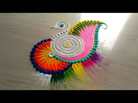 Innovative and multicolored rangoli designs/easy and simple rangoli design by jyoti Rathod
