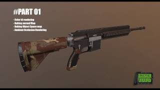 HK416 Video Game Model Texturing Tutorial - 3ds max and Quixel Suite (2 hours)