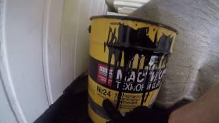 Строим гараж.  Лепим рубероид на мастику технониколь 24.(Про то как я искал и пытался намазать мастику технониколь 24 на праймер и прилепить сверху рубероид., 2016-07-02T12:01:21.000Z)
