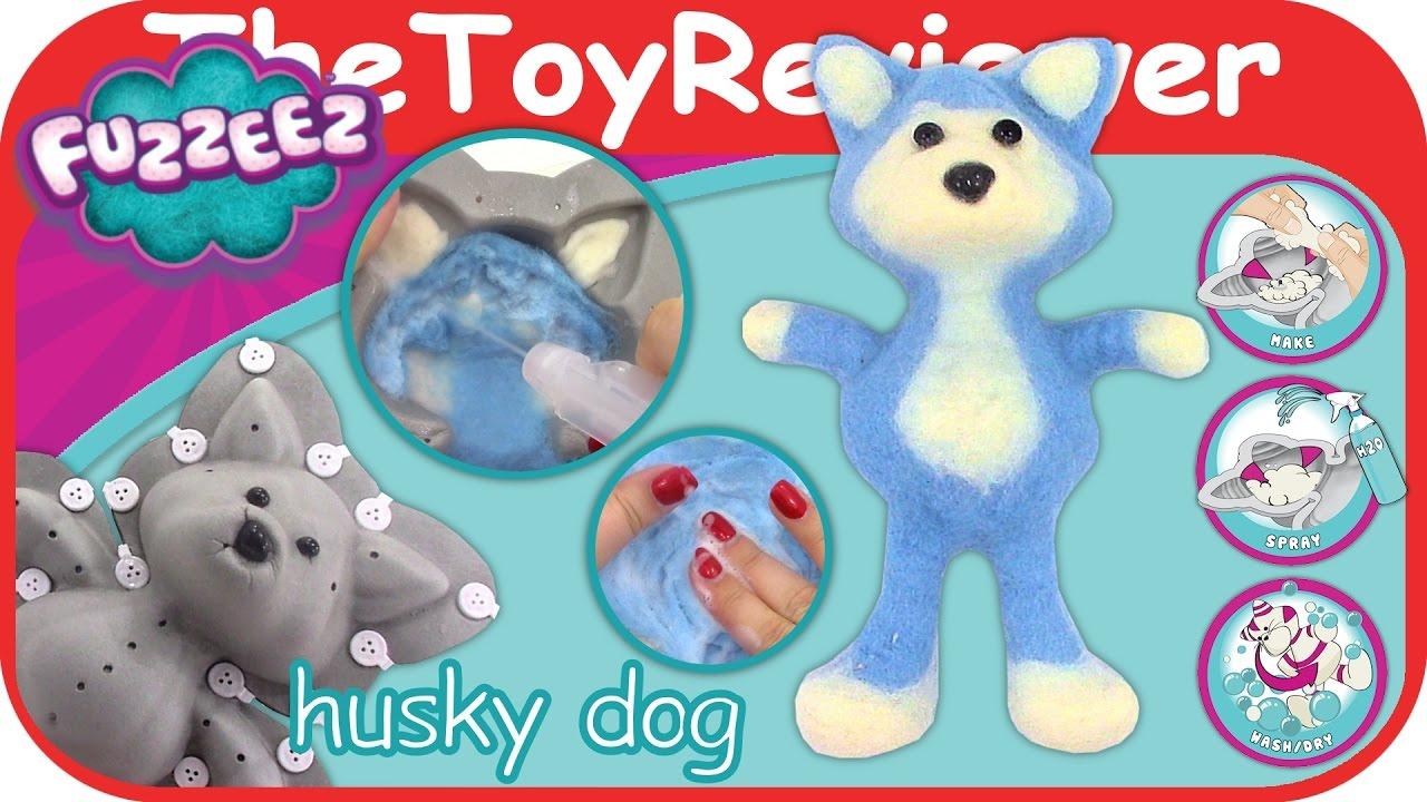 Fuzzeez Husky Dog Felt Kit Diy Stuffed Animal Making Unboxing Toy