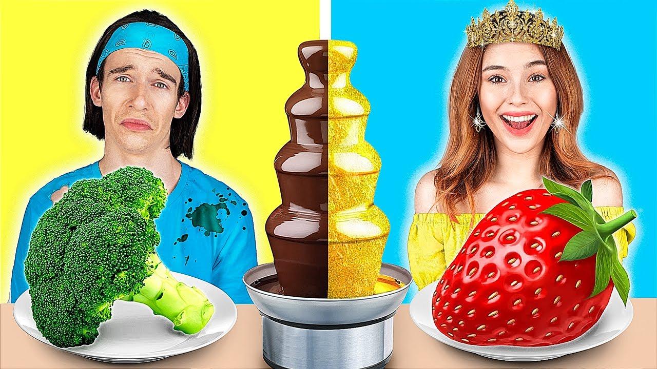 Desafio de Fondue de Chocolate Garota Rica vs Garota pobre/ Desafio de Fonte de Chocolate