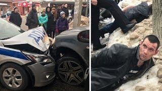 Жёсткое задержание пьяного на Мерседесе. Протаранил 20 машин под Сергиевым Посадом