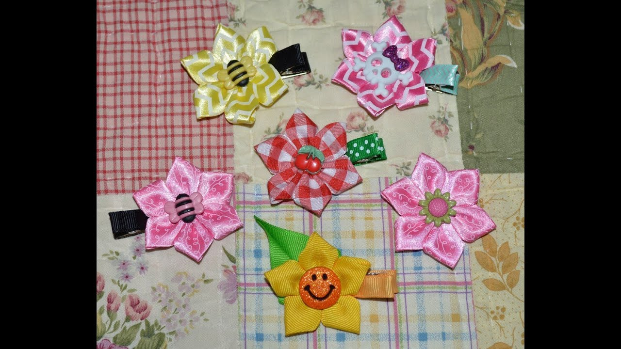 ... Sculpture Kanzashi Hair Clip Bow DIY Free Tutorial by Lacey - YouTube